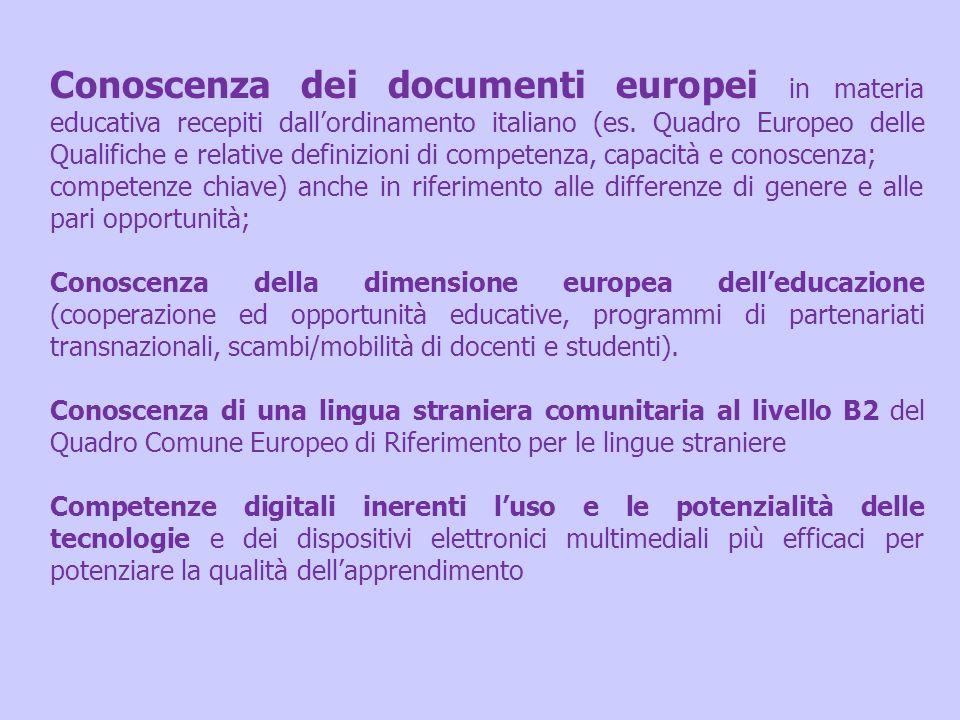Conoscenza dei documenti europei in materia educativa recepiti dall'ordinamento italiano (es. Quadro Europeo delle Qualifiche e relative definizioni di competenza, capacità e conoscenza;