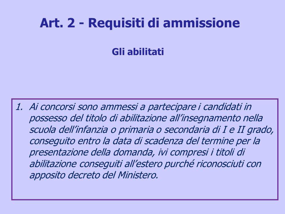 Art. 2 - Requisiti di ammissione