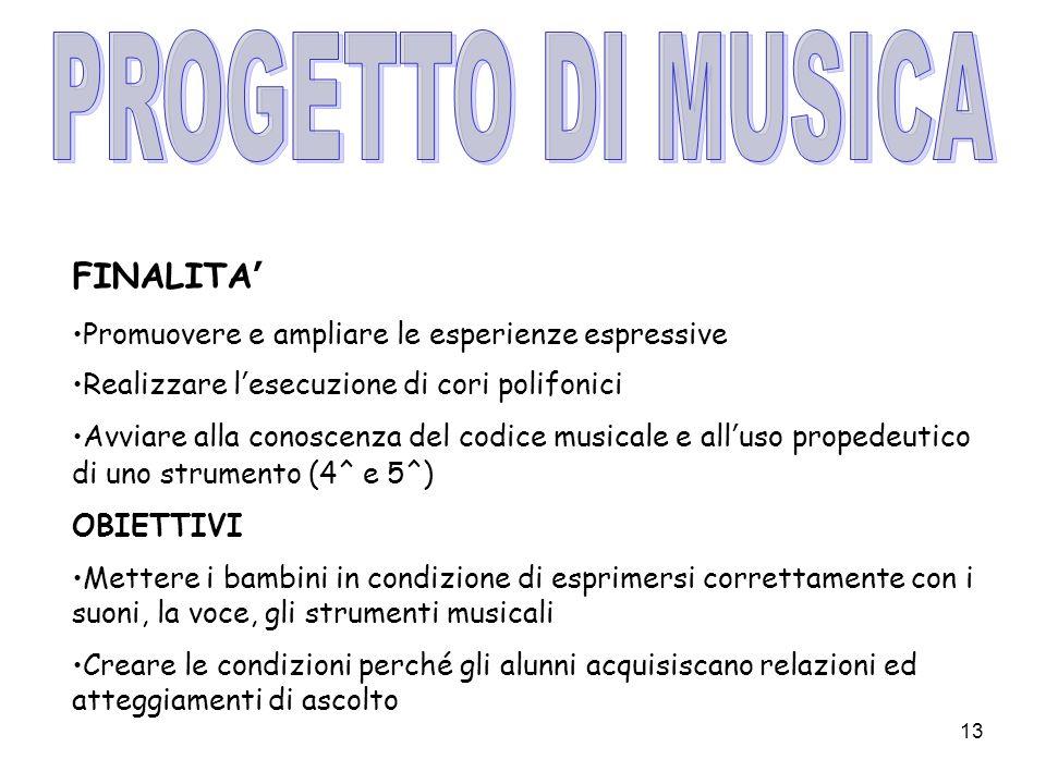 PROGETTO DI MUSICA FINALITA'