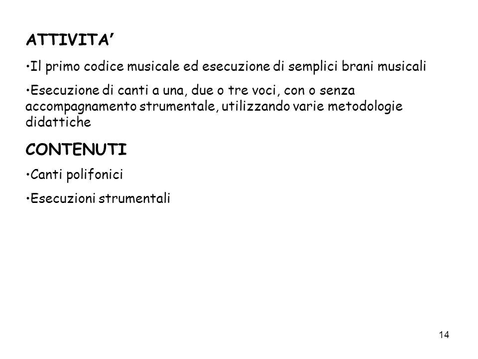 ATTIVITA' Il primo codice musicale ed esecuzione di semplici brani musicali.