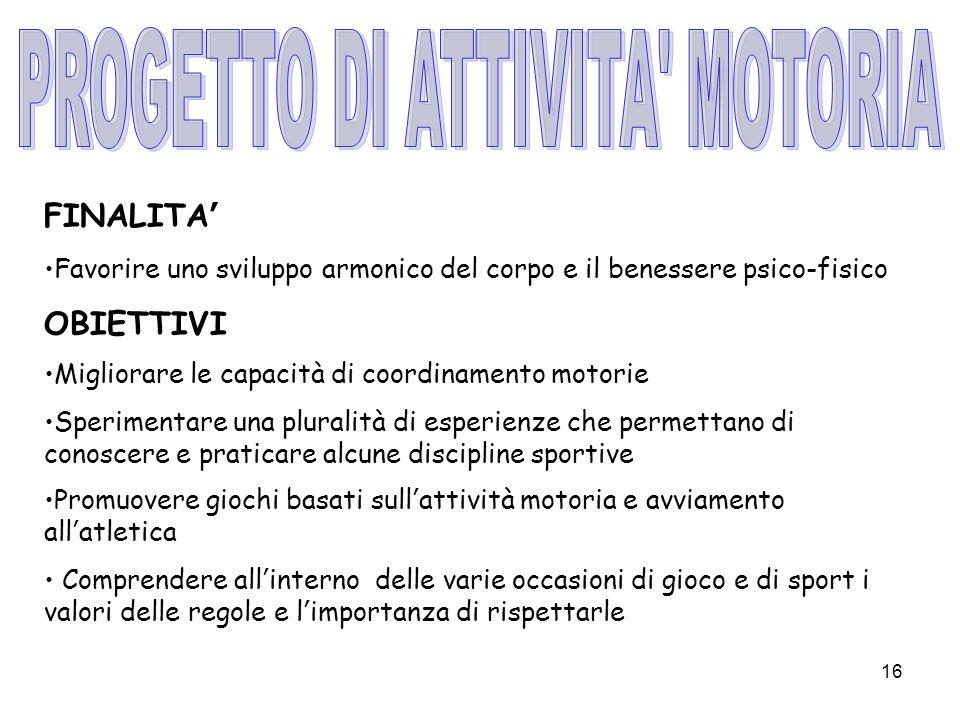 PROGETTO DI ATTIVITA MOTORIA