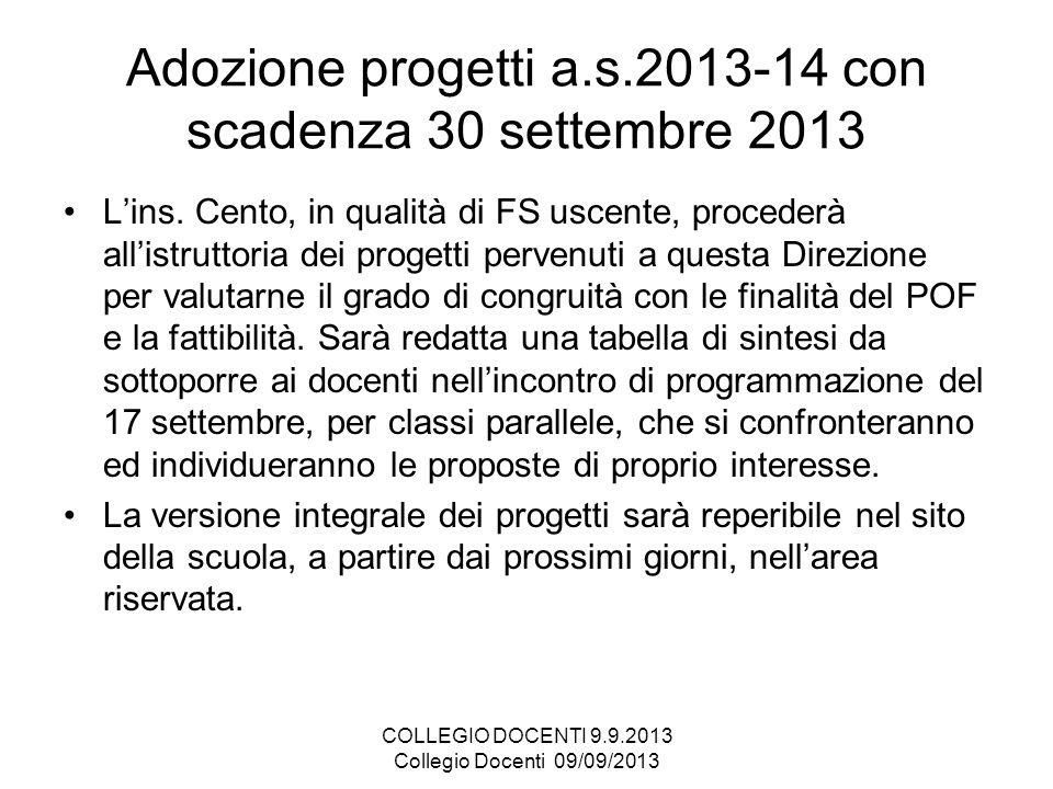 Adozione progetti a.s.2013-14 con scadenza 30 settembre 2013