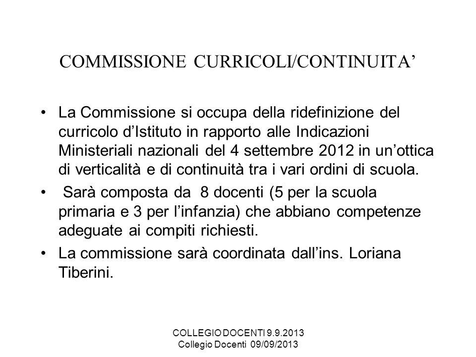 COMMISSIONE CURRICOLI/CONTINUITA'