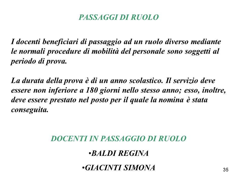 DOCENTI IN PASSAGGIO DI RUOLO