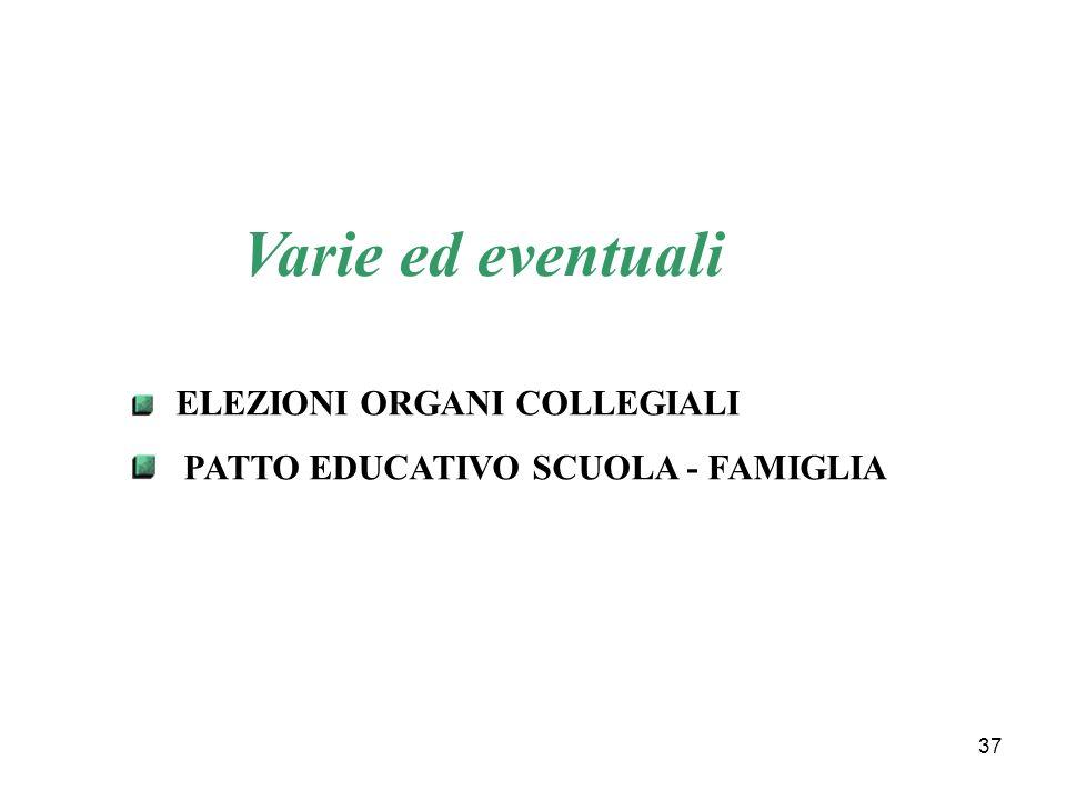 Varie ed eventuali PATTO EDUCATIVO SCUOLA - FAMIGLIA