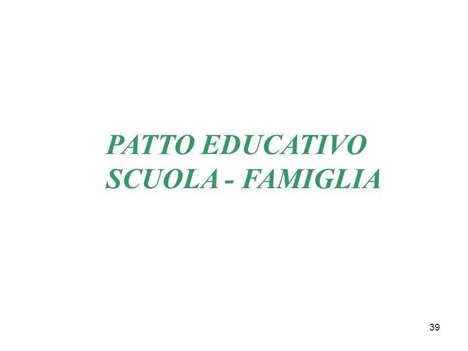 PATTO EDUCATIVO SCUOLA - FAMIGLIA