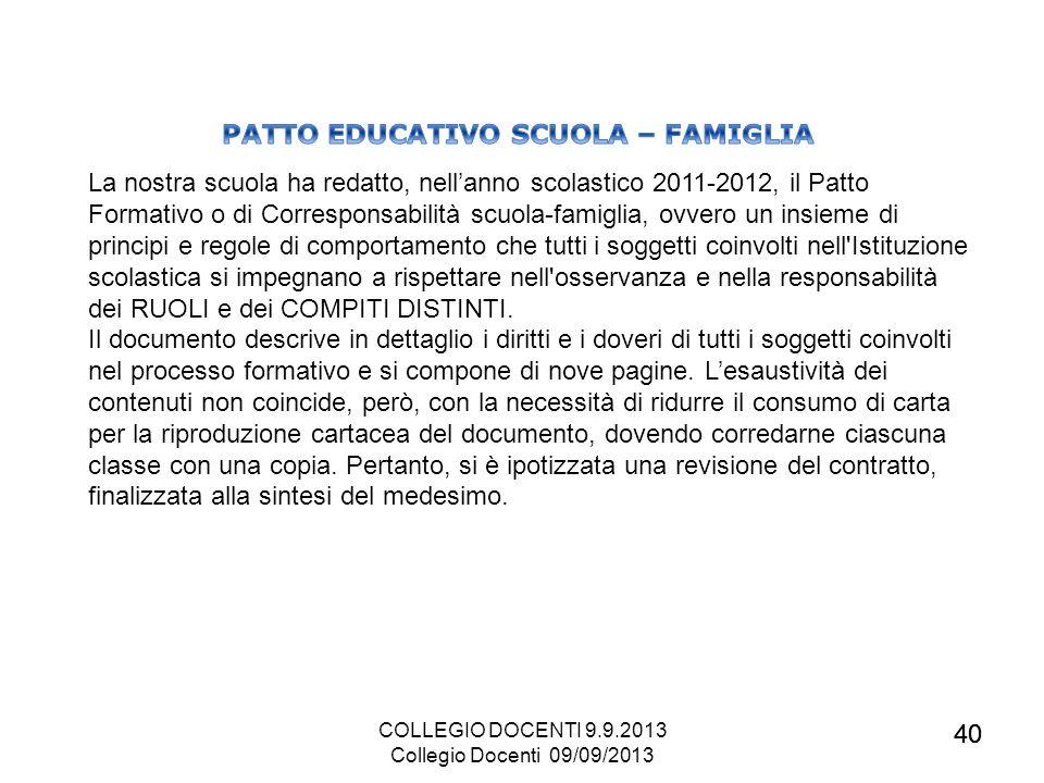 PATTO EDUCATIVO SCUOLA – FAMIGLIA