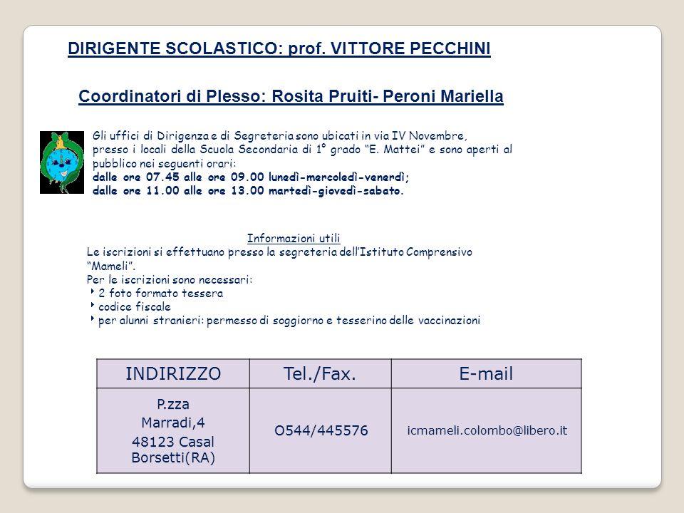 DIRIGENTE SCOLASTICO: prof. VITTORE PECCHINI