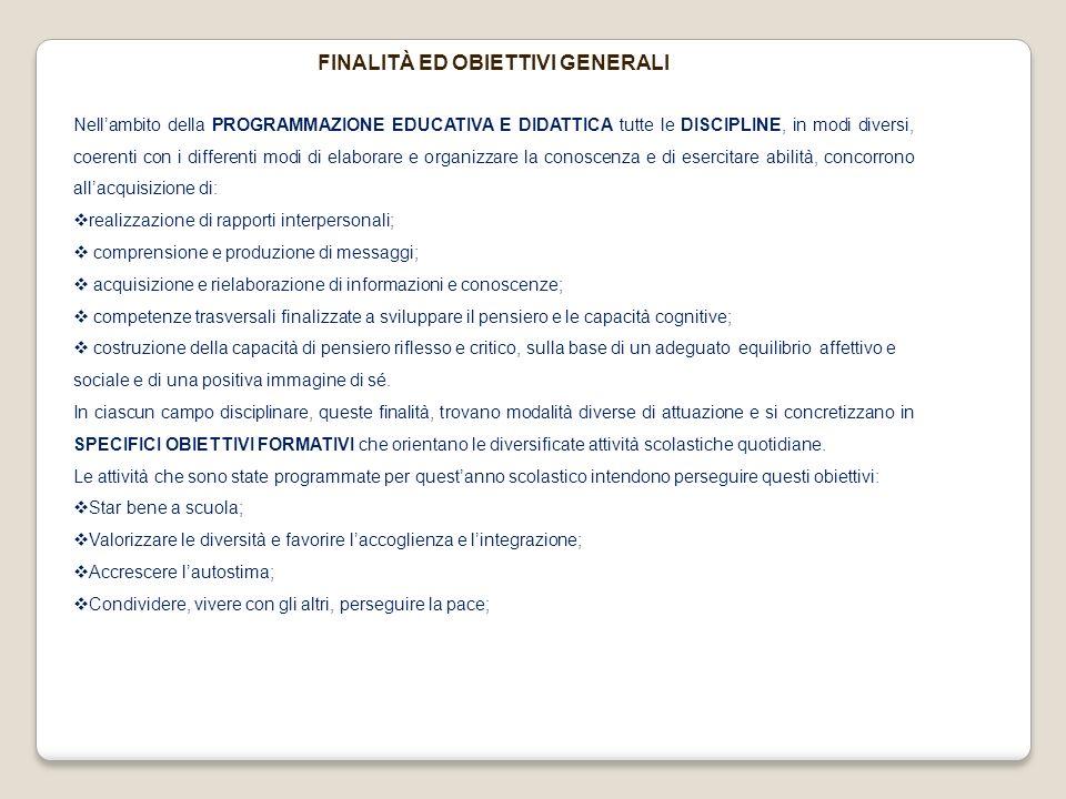 FINALITÀ ED OBIETTIVI GENERALI