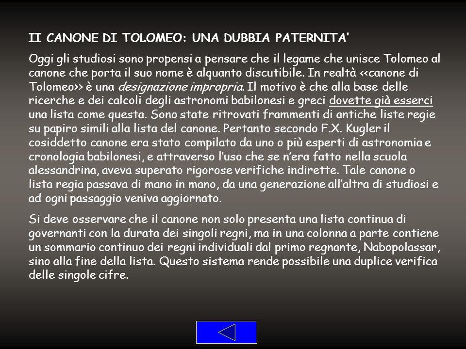 II CANONE DI TOLOMEO: UNA DUBBIA PATERNITA'