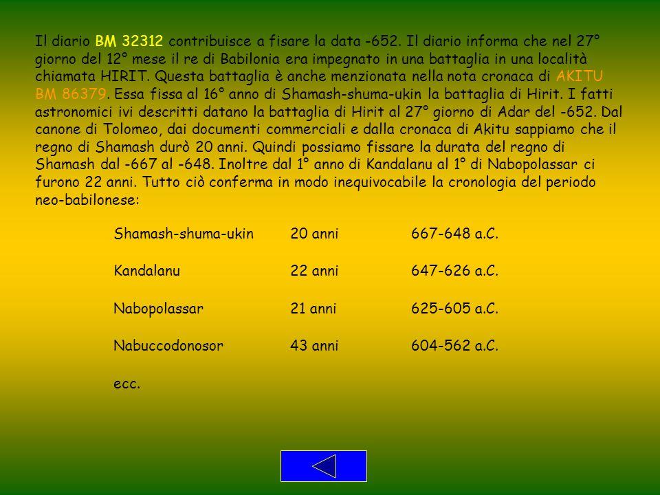Il diario BM 32312 contribuisce a fisare la data -652