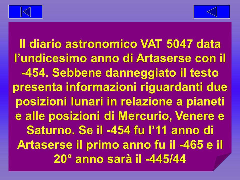 Il diario astronomico VAT 5047 data l'undicesimo anno di Artaserse con il -454.