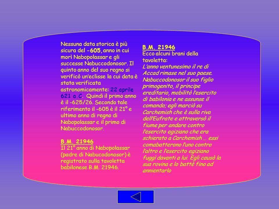 Nessuna data storica è più sicura del -605, anno in cui morì Nabopolassar e gli successe Nabuccodonosor. Il quinto anno del suo regno si verificò un'eclisse la cui data è stata verificata astronomicamente: 22 aprile 621 a.C. Quindi il primo anno è il -625/26. Secondo tale riferimento il -605 è il 21° e ultimo anno di regno di Nabopolassar e il primo di Nabuccodonosor.