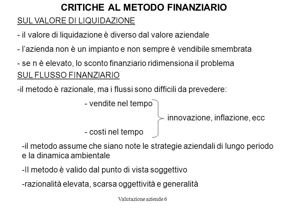 CRITICHE AL METODO FINANZIARIO