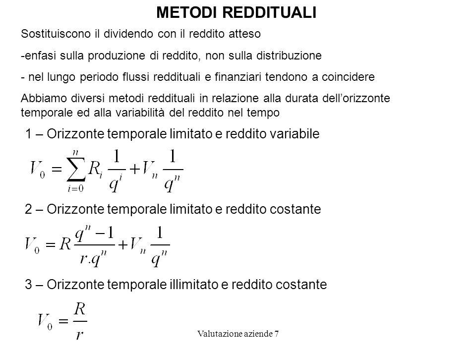 METODI REDDITUALI 1 – Orizzonte temporale limitato e reddito variabile