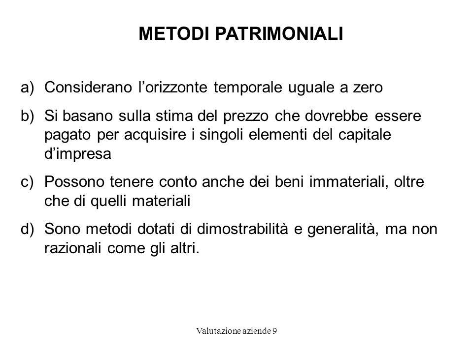 METODI PATRIMONIALI Considerano l'orizzonte temporale uguale a zero