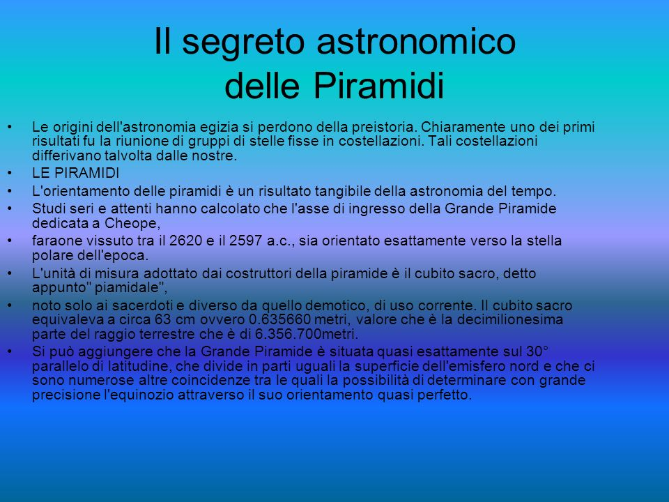 Il segreto astronomico delle Piramidi