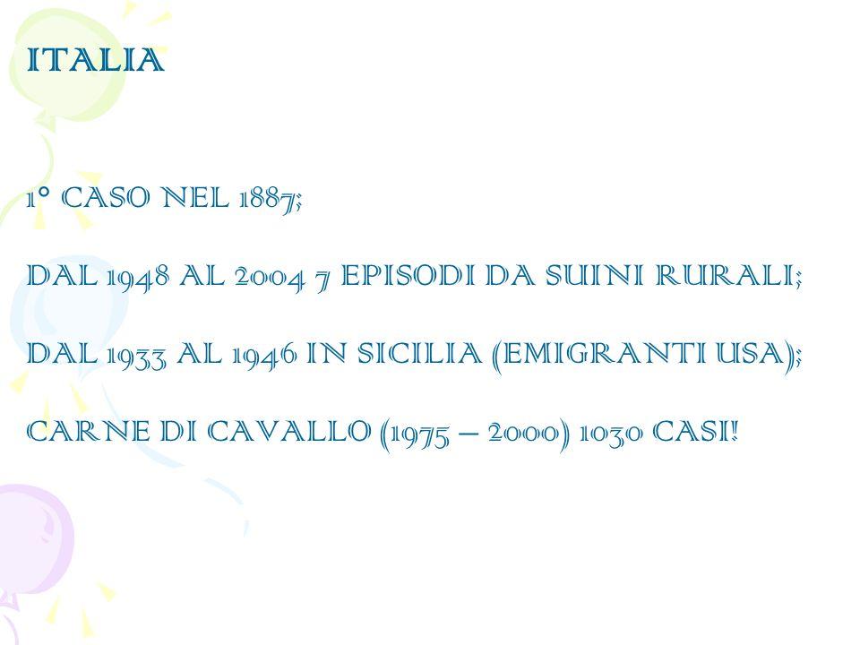 ITALIA 1° CASO NEL 1887; DAL 1948 AL 2004 7 EPISODI DA SUINI RURALI;