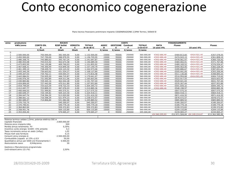 Conto economico cogenerazione