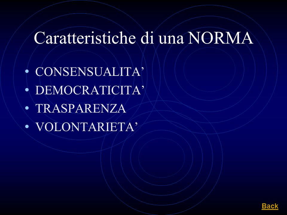 Caratteristiche di una NORMA