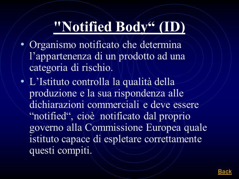Notified Body (ID) Organismo notificato che determina l'appartenenza di un prodotto ad una categoria di rischio.