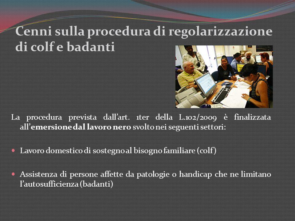 Cenni sulla procedura di regolarizzazione di colf e badanti