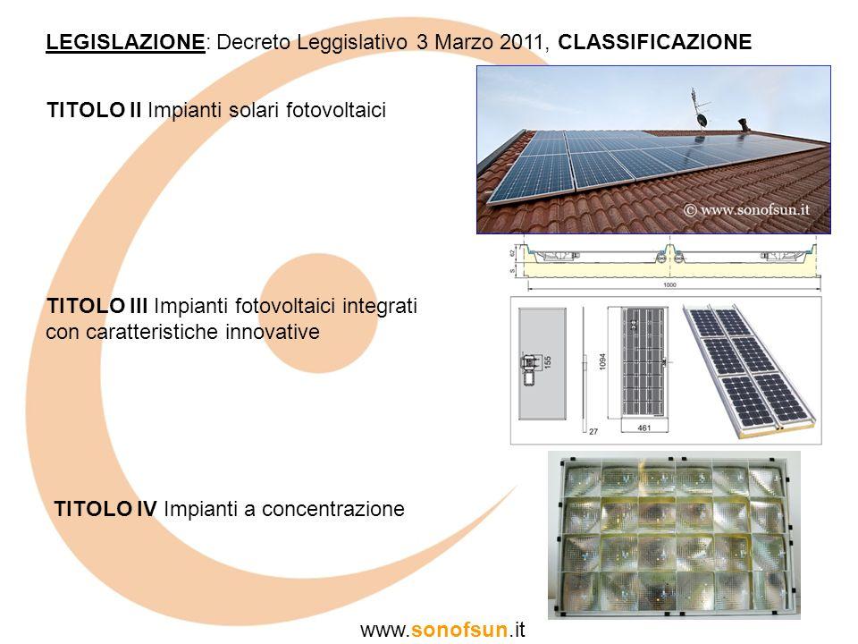 LEGISLAZIONE: Decreto Leggislativo 3 Marzo 2011, CLASSIFICAZIONE