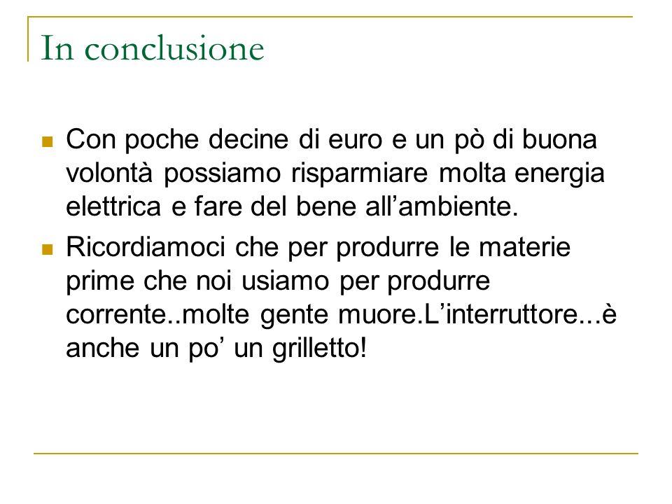 In conclusione Con poche decine di euro e un pò di buona volontà possiamo risparmiare molta energia elettrica e fare del bene all'ambiente.