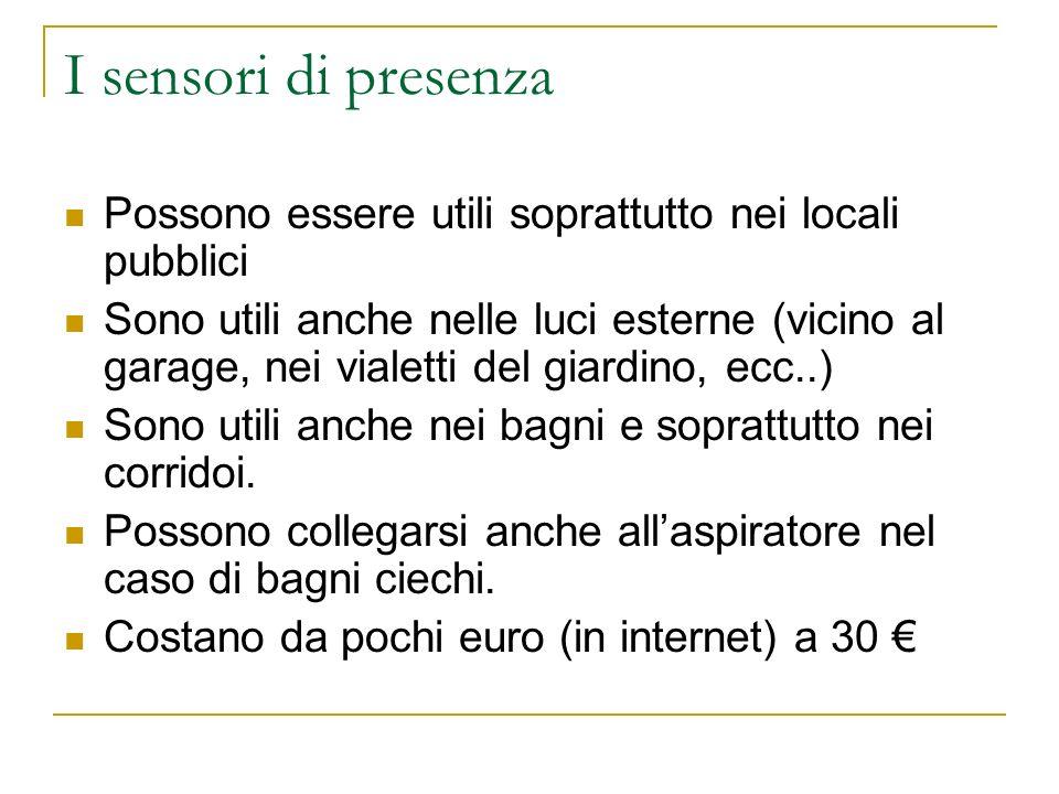 I sensori di presenza Possono essere utili soprattutto nei locali pubblici.