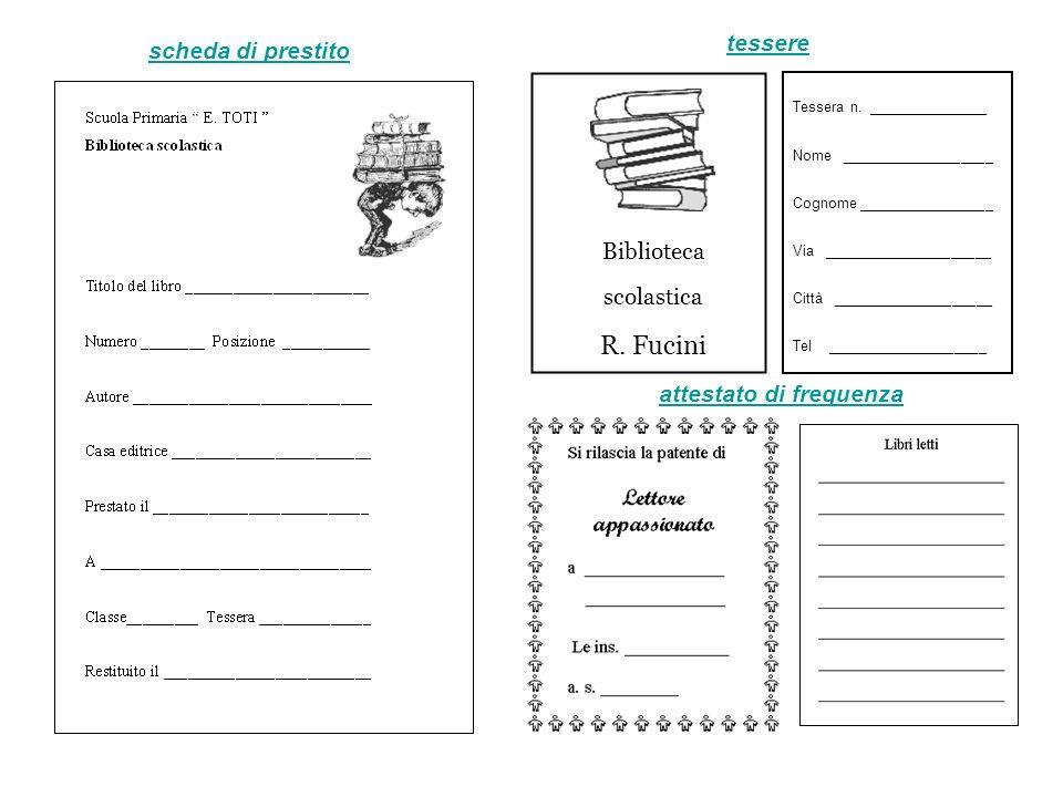 R. Fucini tessere scheda di prestito Biblioteca scolastica