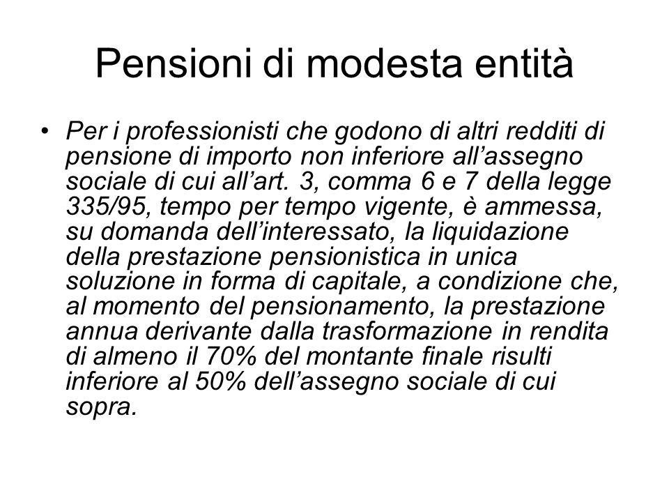 Pensioni di modesta entità