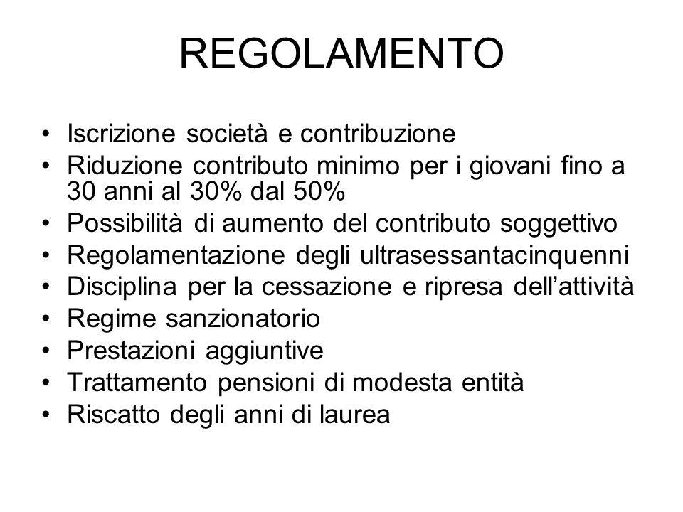 REGOLAMENTO Iscrizione società e contribuzione