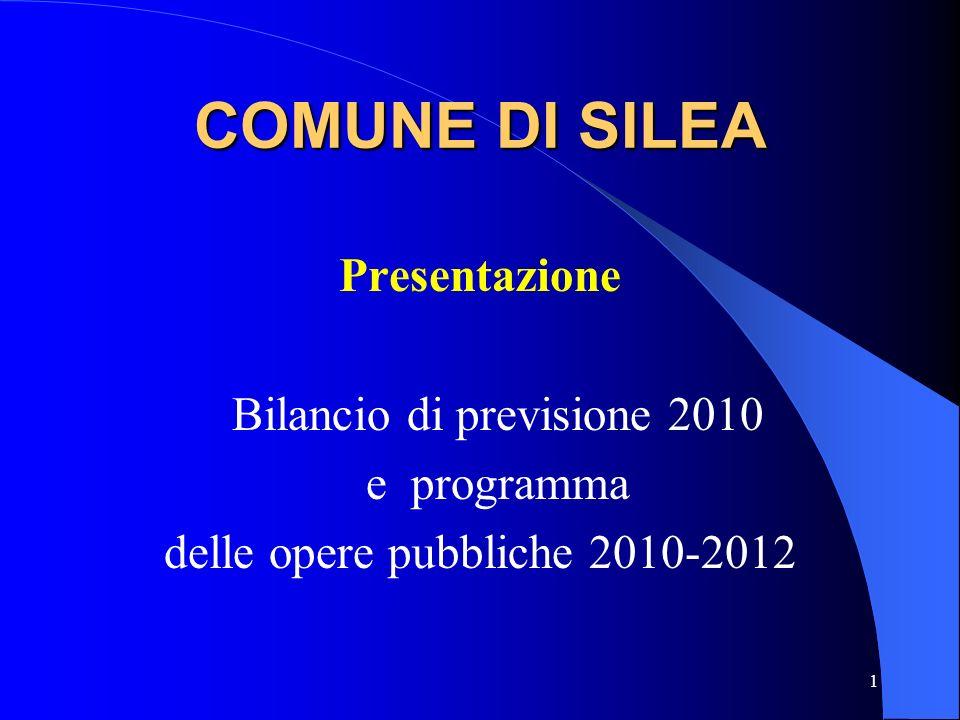 COMUNE DI SILEA Presentazione Bilancio di previsione 2010 e programma