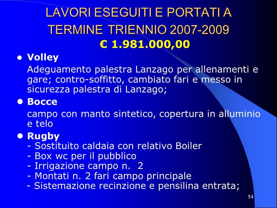 LAVORI ESEGUITI E PORTATI A TERMINE TRIENNIO 2007-2009