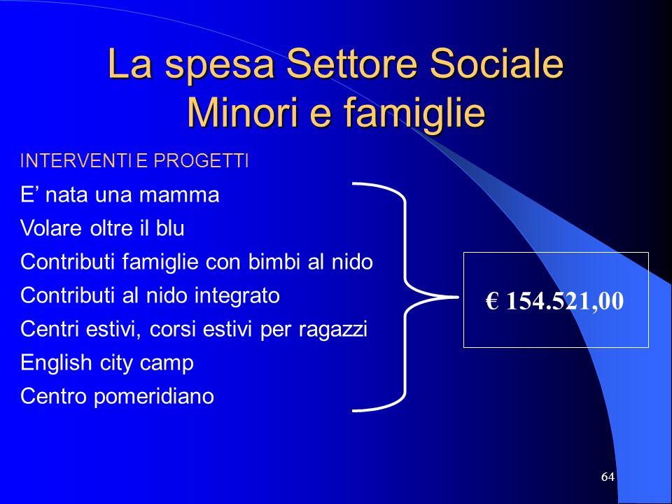 La spesa Settore Sociale Minori e famiglie