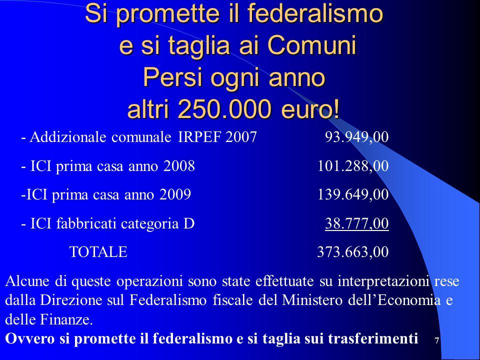 Si promette il federalismo e si taglia ai Comuni Persi ogni anno altri 250.000 euro!
