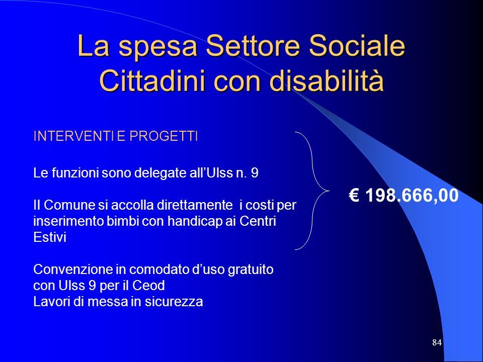 La spesa Settore Sociale Cittadini con disabilità