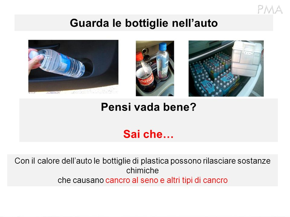 Guarda le bottiglie nell'auto