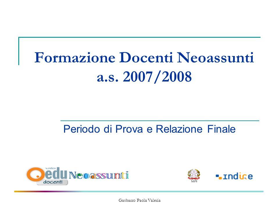 Formazione Docenti Neoassunti a.s. 2007/2008