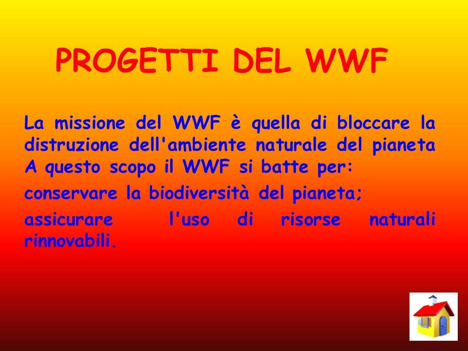 PROGETTI DEL WWF La missione del WWF è quella di bloccare la distruzione dell ambiente naturale del pianeta A questo scopo il WWF si batte per: