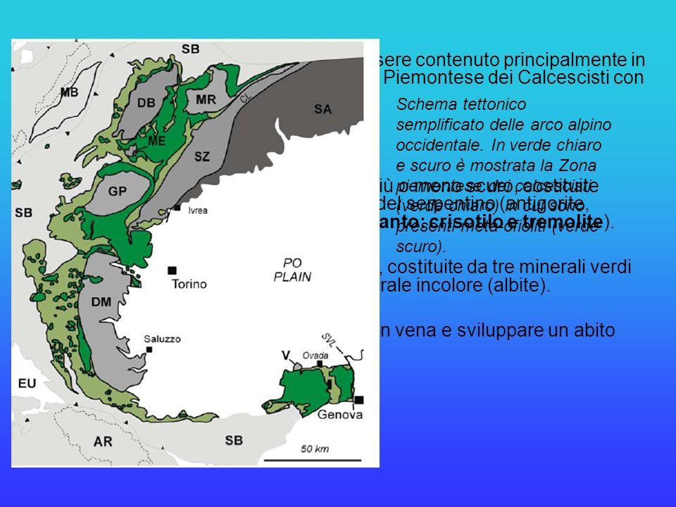 Nelle Alpi Occidentali, l'amianto può essere contenuto principalmente in due tipi di rocce, appartenenti alla Zona Piemontese dei Calcescisti con Pietre Verdi: