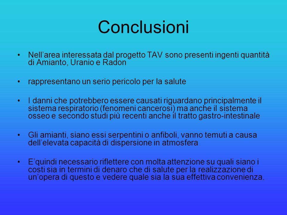 Conclusioni Nell'area interessata dal progetto TAV sono presenti ingenti quantità di Amianto, Uranio e Radon.