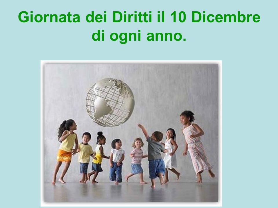 Giornata dei Diritti il 10 Dicembre di ogni anno.