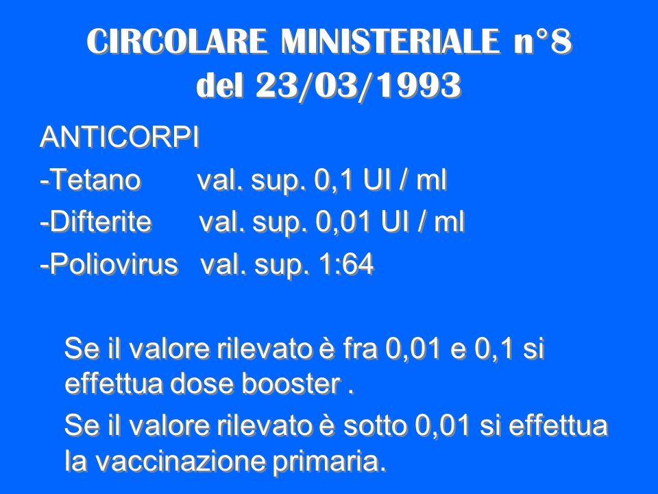 CIRCOLARE MINISTERIALE n°8 del 23/03/1993
