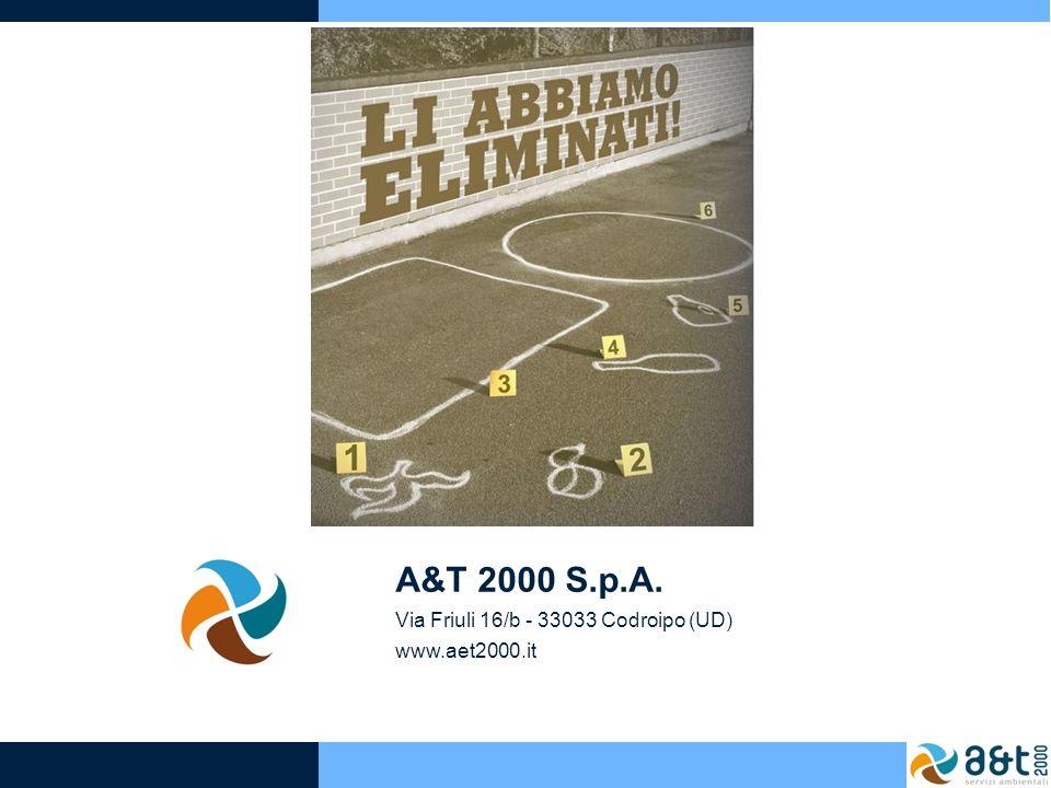 A&T 2000 S.p.A. Via Friuli 16/b - 33033 Codroipo (UD) www.aet2000.it