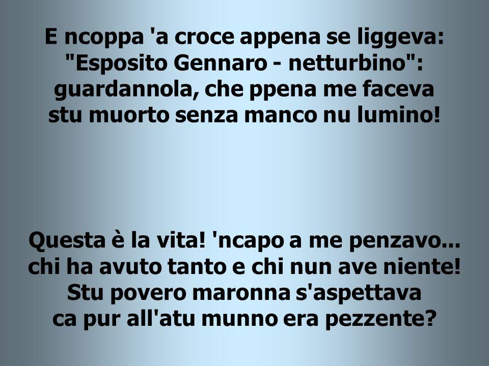 E ncoppa a croce appena se liggeva: Esposito Gennaro - netturbino : guardannola, che ppena me faceva stu muorto senza manco nu lumino!