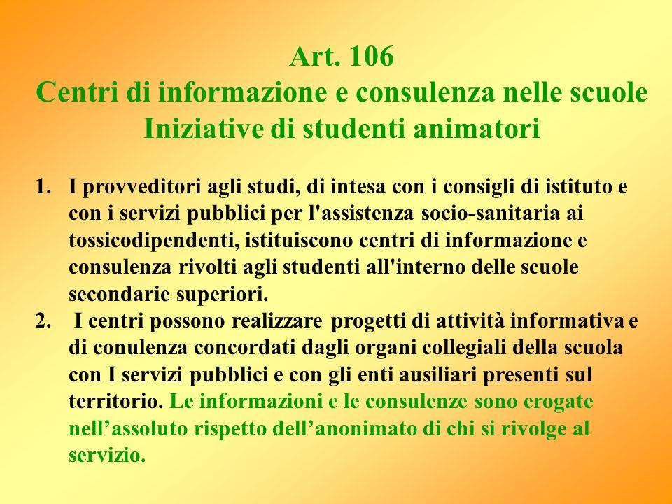 Centri di informazione e consulenza nelle scuole