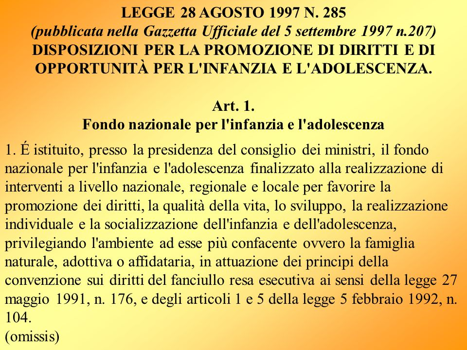 (pubblicata nella Gazzetta Ufficiale del 5 settembre 1997 n.207)