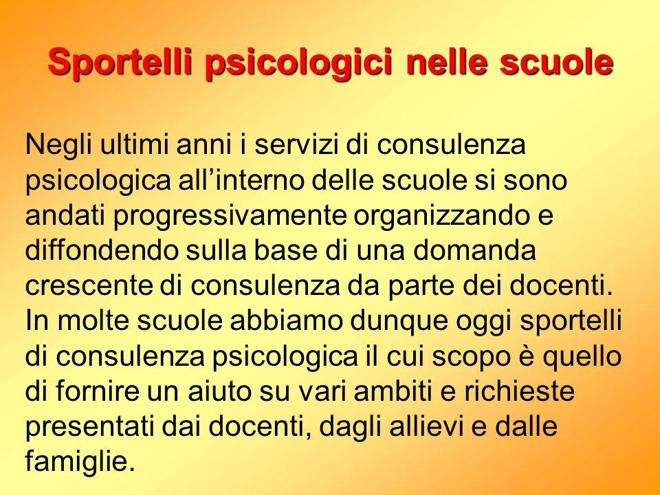 Sportelli psicologici nelle scuole