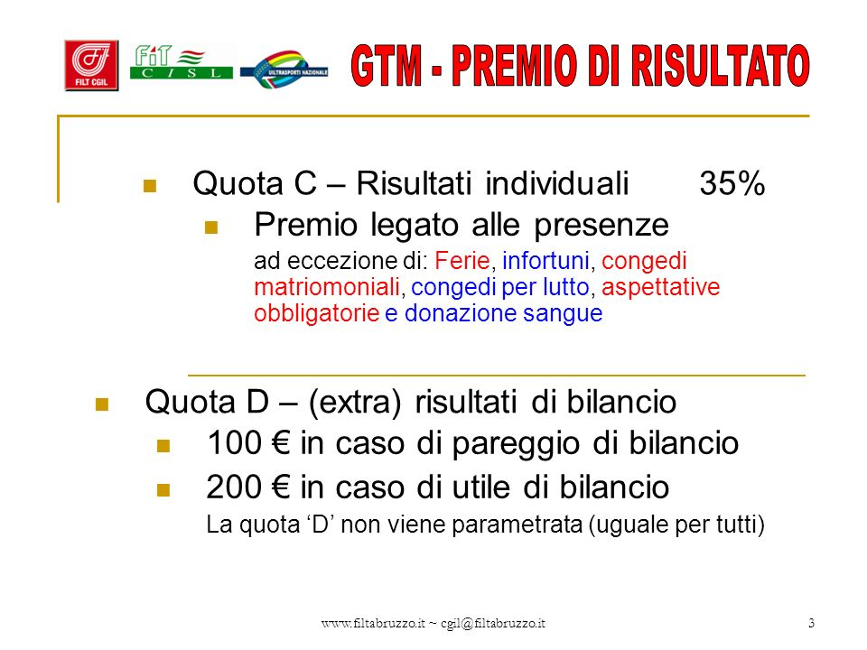 Quota C – Risultati individuali 35%